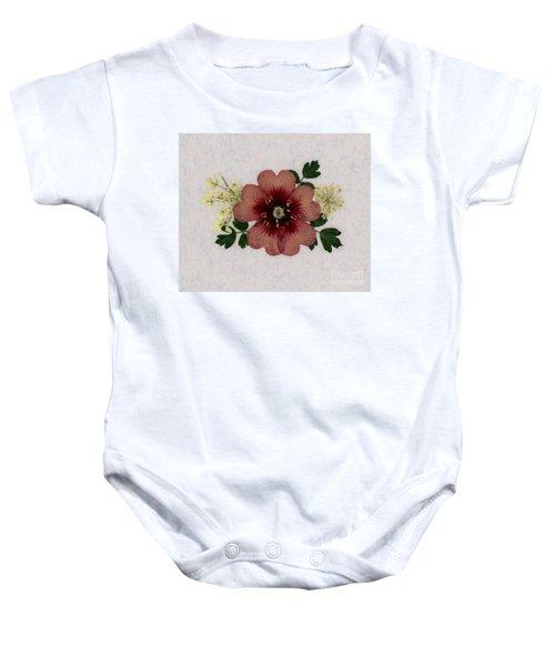 Potentilla And Queen-ann's-lace Pressed Flower Arrangement Baby Onesie