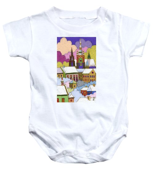 Prague Old Roofs Prague Castle Winter Baby Onesie