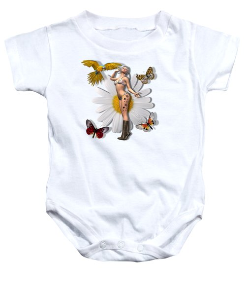 Pretty 3d Woman With Macaw And Butterflies Baby Onesie