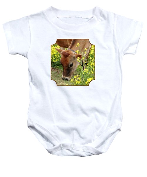 Pretty Jersey Cow Square Baby Onesie by Gill Billington