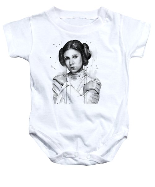 Princess Leia Portrait Carrie Fisher Art Baby Onesie