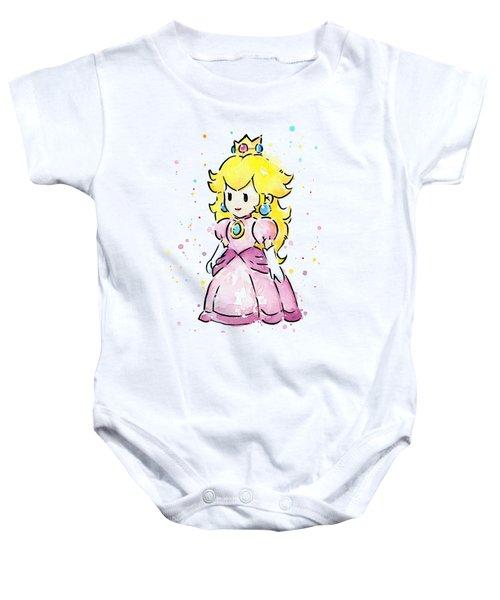 Princess Peach Watercolor Baby Onesie by Olga Shvartsur