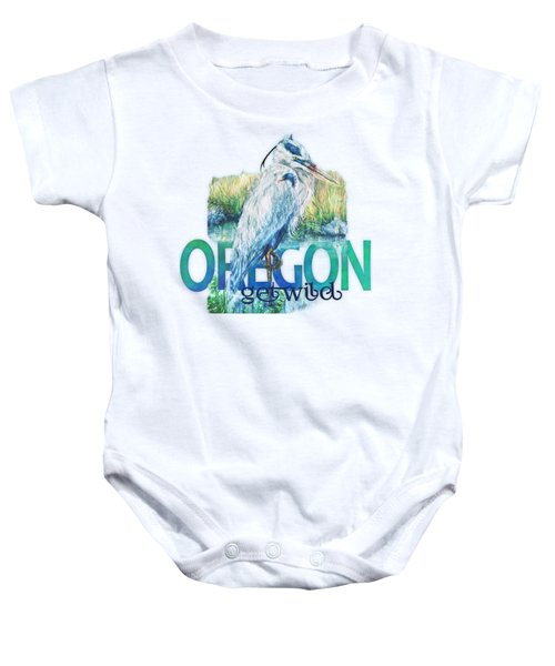 Puddletown Great Blue Heron Baby Onesie by Kara Skye