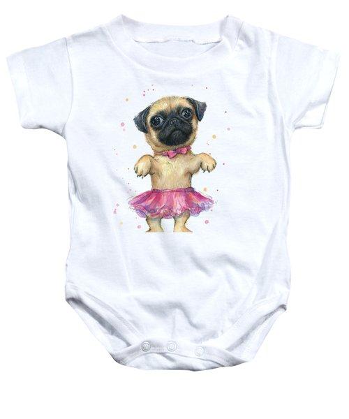 Pug In A Tutu Baby Onesie by Olga Shvartsur