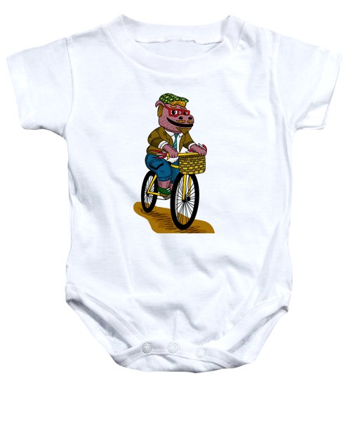 Pun Intended - Hipsterpotamus - Hipsters- Funny Design Baby Onesie by Paul Telling
