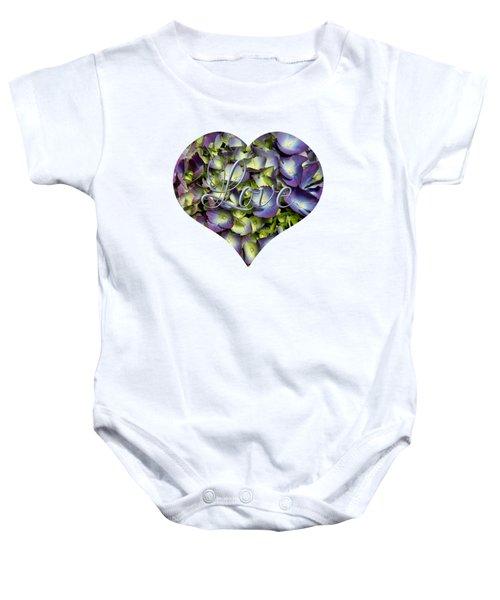 Purple And Cream Hydrangea Flowers Heart With Love Baby Onesie