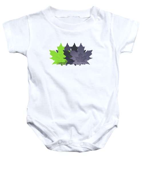 Purple And Green Leaves Baby Onesie by Methune Hively