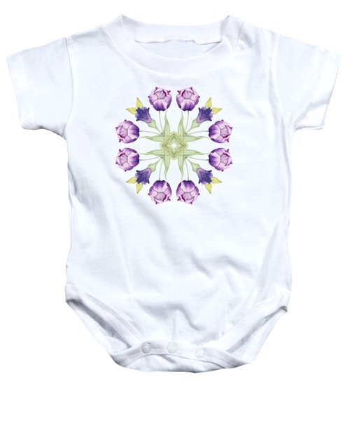 Purple Tulip Mandala Baby Onesie