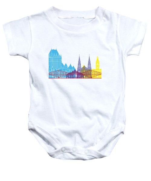 Quebec Skyline Pop Baby Onesie