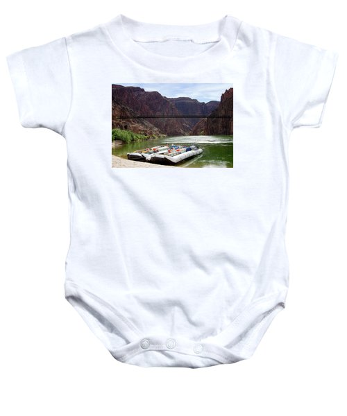 Rafts With Black Bridge In The Distance Baby Onesie