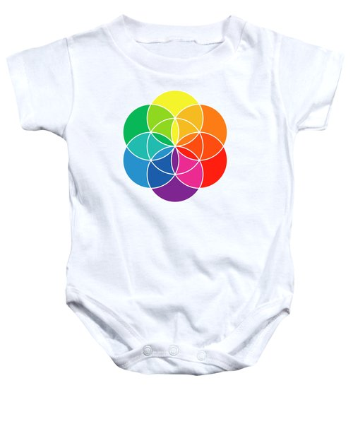 Rainbow Colored Seed Of Life And Color Wheel Baby Onesie