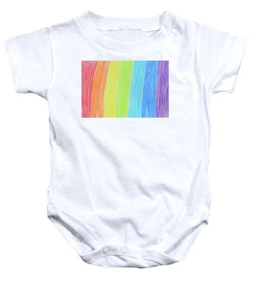 Rainbow Crayon Drawing Baby Onesie by GoodMood Art