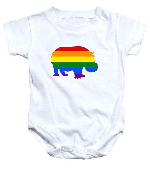 Rainbow Hippo Baby Onesie