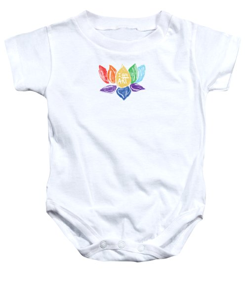 Rainbow Lotus I Am Art- Art By Linda Woods Baby Onesie