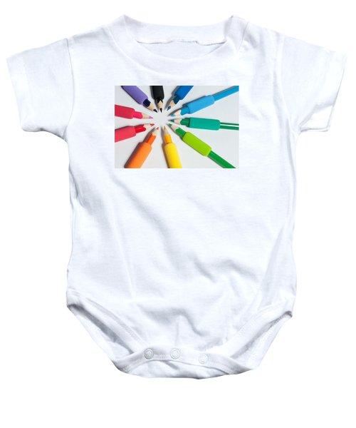 Rainbow Of Crayons Baby Onesie