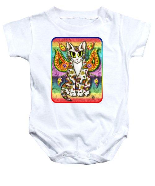 Rainbow Paisley Fairy Cat Baby Onesie