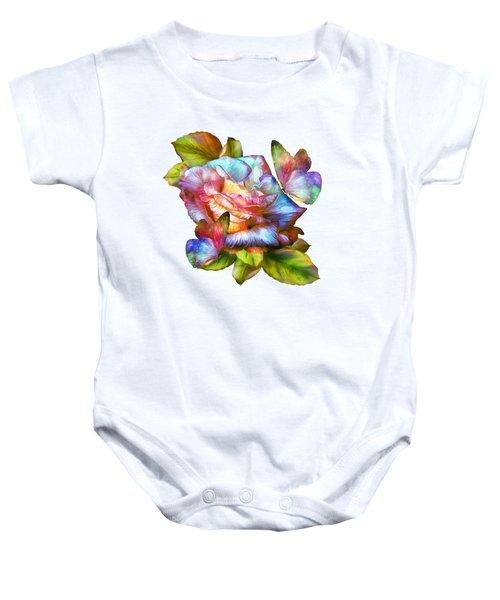 Rainbow Rose And Butterflies Baby Onesie by Carol Cavalaris
