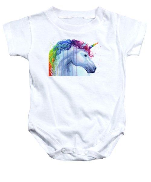 Rainbow Unicorn Watercolor Baby Onesie