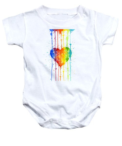 Rainbow Watercolor Heart Baby Onesie
