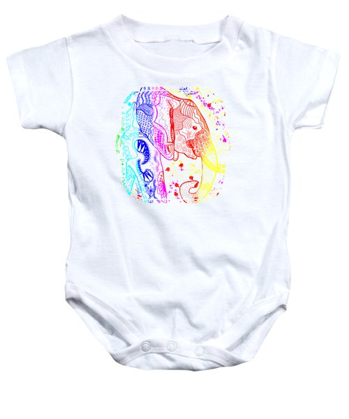 Rainbow Zentangle Elephant Baby Onesie