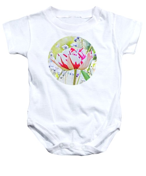 Red And White Tulip Baby Onesie