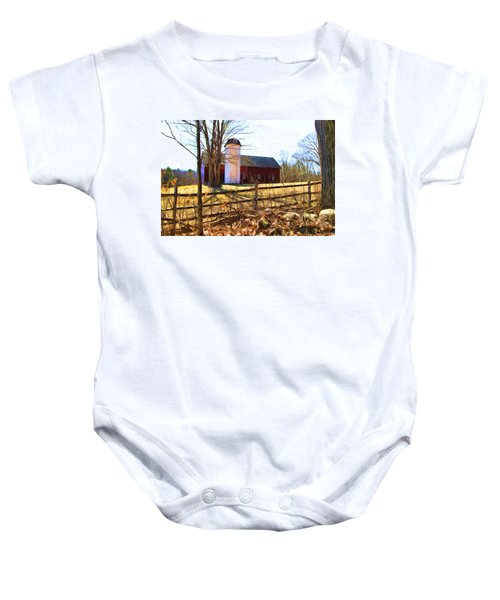 Red Barn And Silo  Baby Onesie