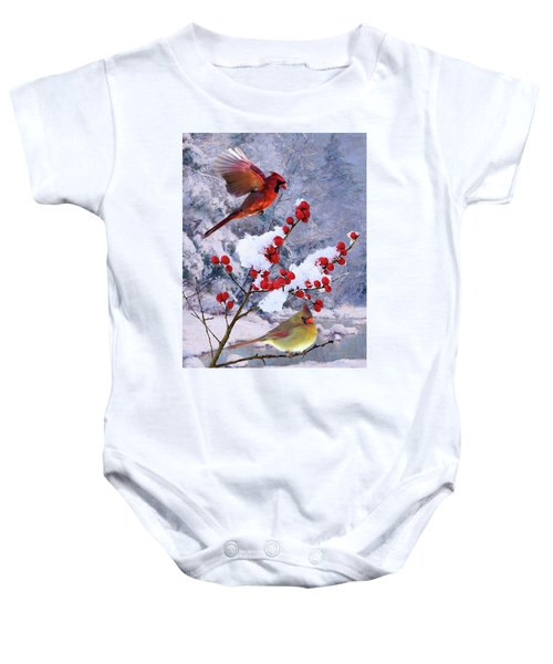 Red Birds Of Christmas Baby Onesie