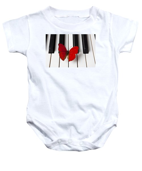 Red Butterfly On Piano Keys Baby Onesie