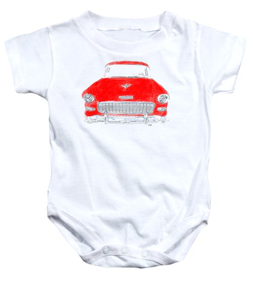 Baby Onesie featuring the drawing Red Chevy T-shirt by Edward Fielding
