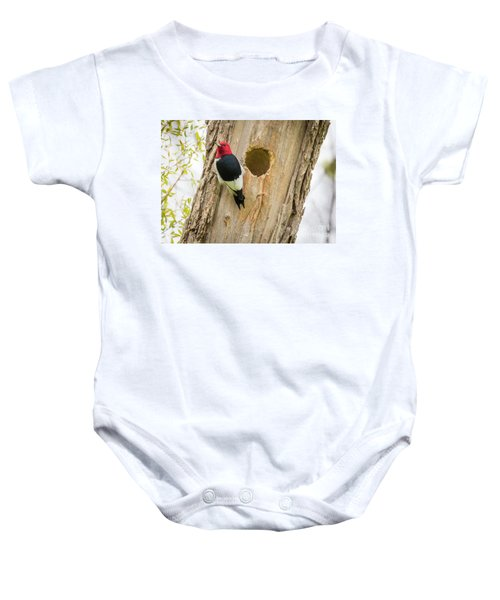 Red-headed Woodpecker At Home Baby Onesie by Ricky L Jones