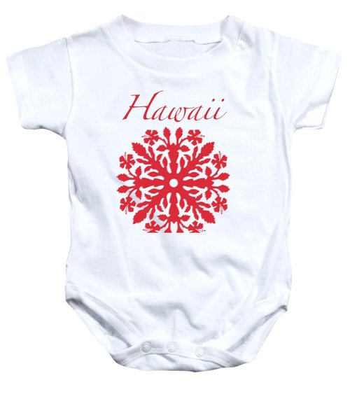 Hawaii Red Hibiscus Quilt Baby Onesie