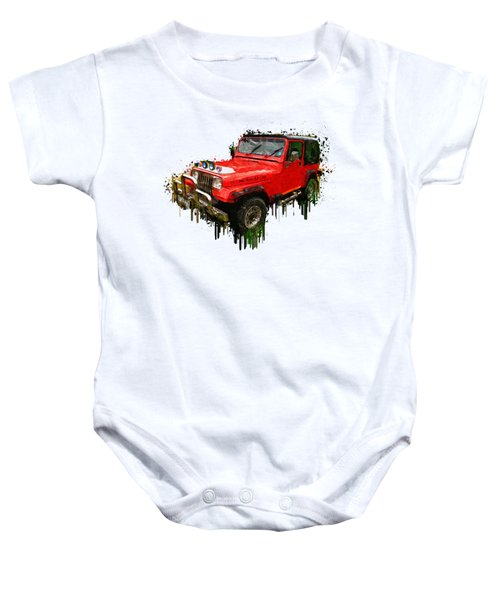Red Jeep Off Road Acrylic Painting Baby Onesie