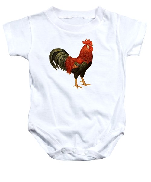 Red Leghorn Rooster Baby Onesie