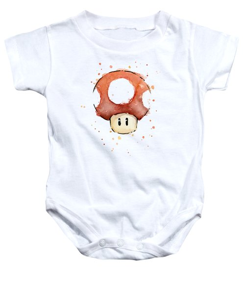 Red Mushroom Watercolor Baby Onesie by Olga Shvartsur