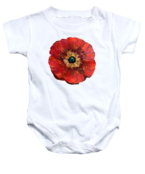 Red Poppy Transparent  Baby Onesie