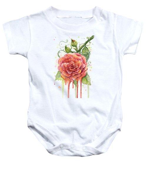 Red Rose Dripping Watercolor  Baby Onesie by Olga Shvartsur