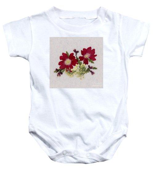Red Verbena Pressed Flower Arrangement Baby Onesie