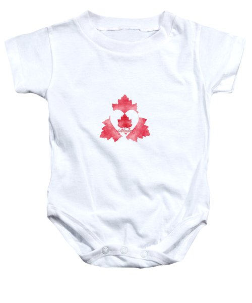 Red White And Canadian Baby Onesie by Kathleen Sartoris