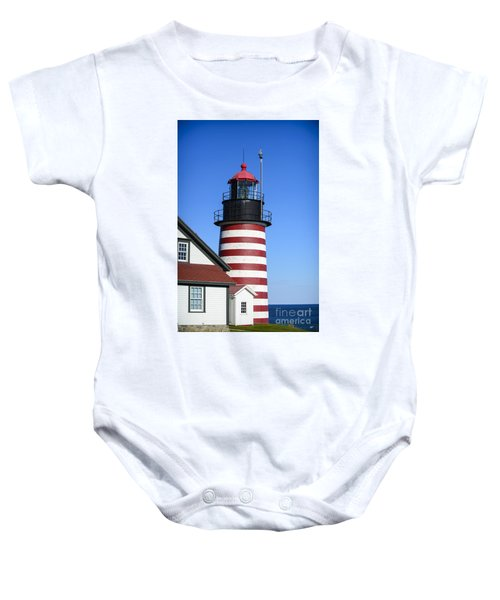 Red White Striped Lighthouse Baby Onesie