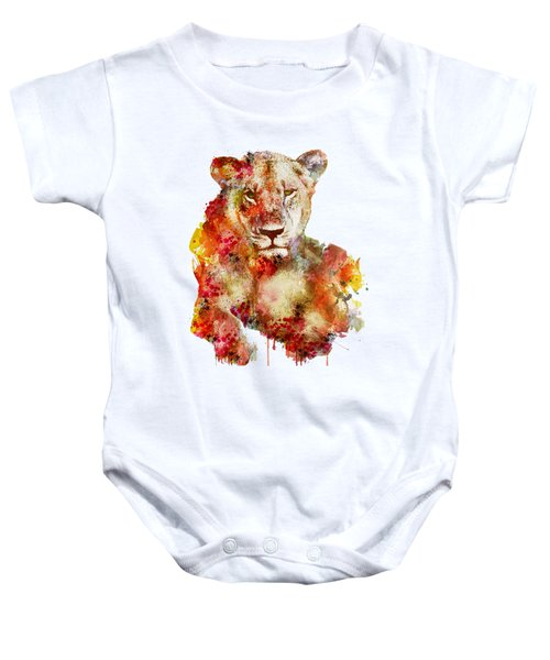 Resting Lioness In Watercolor Baby Onesie by Marian Voicu