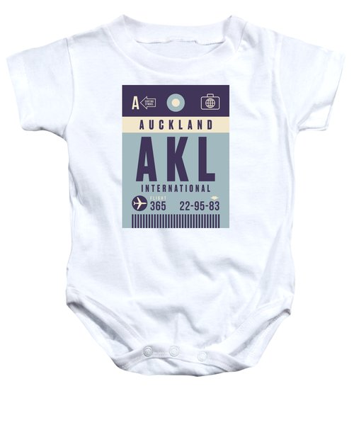 Retro Airline Luggage Tag - Akl Auckland Baby Onesie