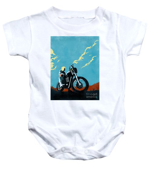 Retro Scrambler Motorbike Baby Onesie