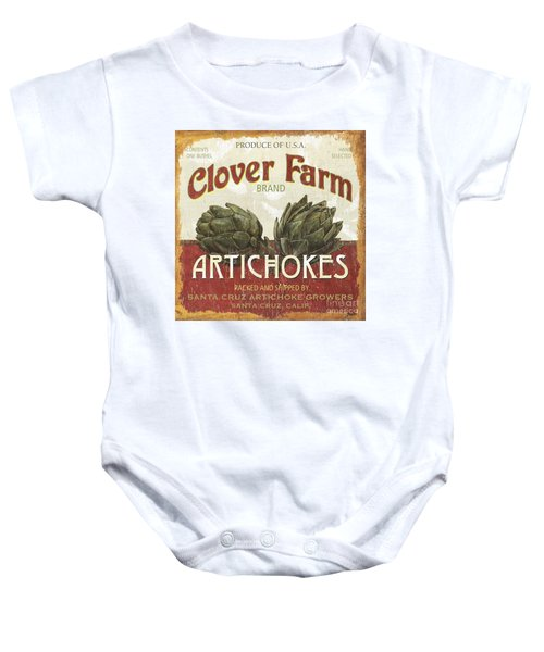 Retro Veggie Labels 1 Baby Onesie by Debbie DeWitt