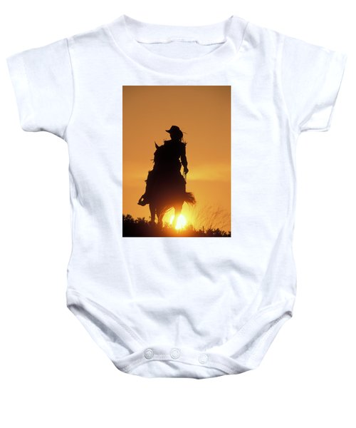 Riding Cowgirl Sunset Baby Onesie