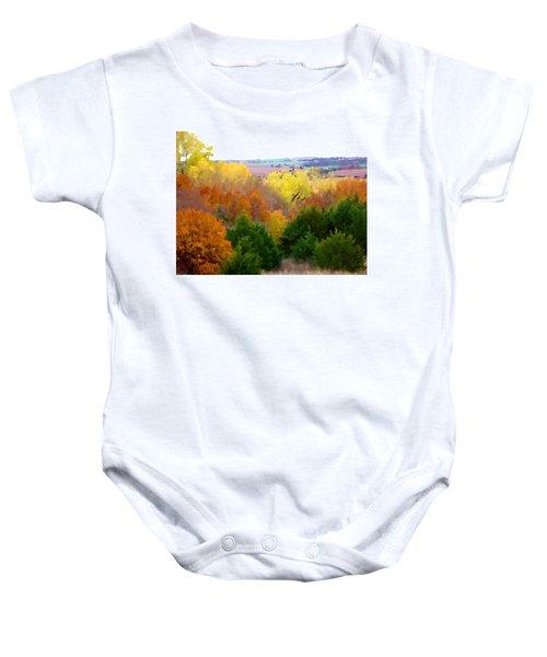River Bottom In Autumn Baby Onesie