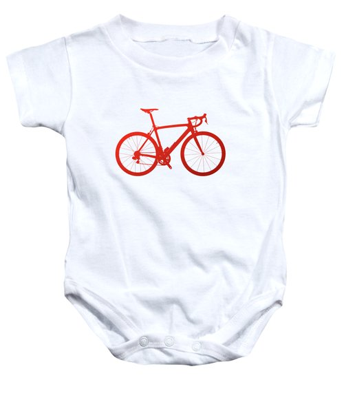 Road Bike Silhouette - Red On White Canvas Baby Onesie by Serge Averbukh