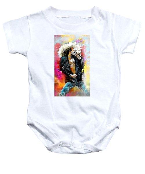 Robert Plant 03 Baby Onesie by Miki De Goodaboom