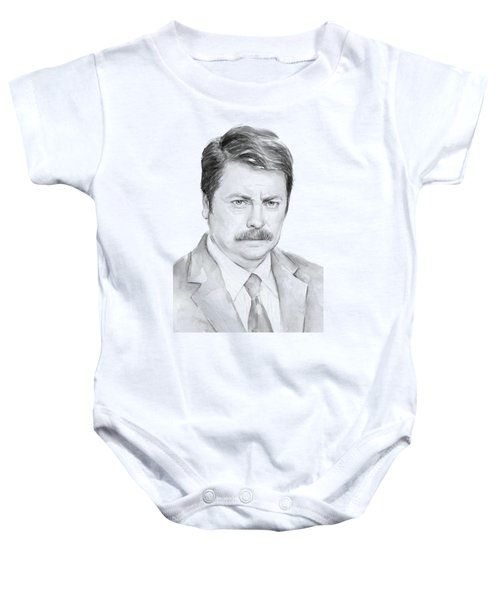Ron Swanson  Baby Onesie by Olga Shvartsur