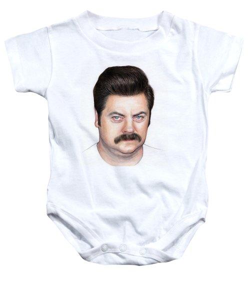 Ron Swanson Portrait Nick Offerman Baby Onesie