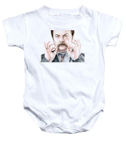 Ron Swanson Mustache Portrait Baby Onesie by Olga Shvartsur
